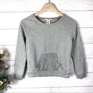 GUESS KIDS Gray Pearl & Lace Sweat Shirt Top